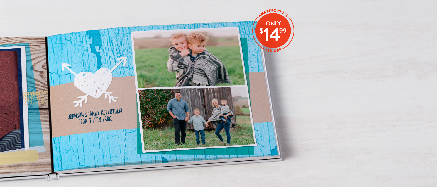 Bring home a best seller : Your photos + 63% off our 8x11 Layflat Hardcover Book = a crowd pleaser! Use BOOK1499
